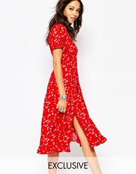 Reclaimed Vintage Midi Tea Dress With Wrap Front In Ditsy Floral Red