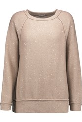 Brunello Cucinelli Sequin Embellished Cashmere And Silk Blend Sweater Pastel Pink