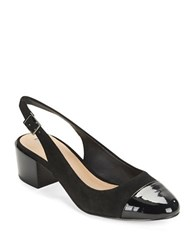 Tahari Express Cap Toe Sling Backs Black Black