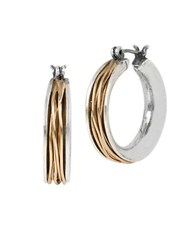 Robert Lee Morris Wire Wrapped Hoop Earrings Two Tone