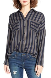 Women's Bp. Stripe Button Front Shirt Navy Night Anna Stripe