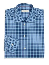 Eton Checked Slim Fit Shirt Aqua Blue