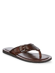 Saks Fifth Avenue Leather Thong Sandals Brown