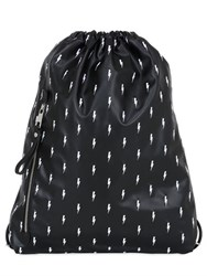 Neil Barrett Flashes Faux Leather Drawstring Backpack