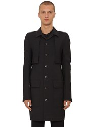 Rick Owens Canvas And Wool Trench Coat Black