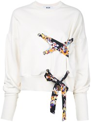 Msgm Lace Detail Sweatshirt White