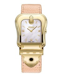 Fendi Mother Of Pearl And Diamond Dial Pebbled Leather Watch Pink