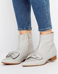 Asos Alabama Leather Pointed Knot Pixie Boots Grey Leather