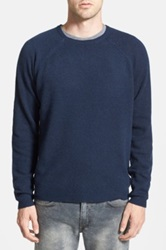 Cheap Monday Slub Knit Wool Blend Crewneck Sweater Blue