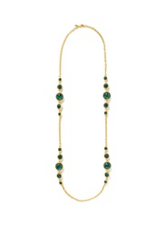 Kenneth Jay Lane Cabochon Stone Rope Necklace Green