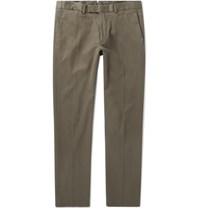 Ralph Lauren Purple Label Eaton Slim Fit Stretch Lyocell And Cotton Blend Twill Trousers Gray Green