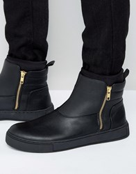 Asos High Top Trainers In Black With Zip Black