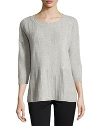 Lafayette 148 New York Cashmere Herringbone 3 4 Sleeve Sweater Ice Melange