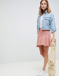 Asos Design Tailored Fit And Flare Mini Skirt Stone