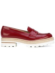 Fratelli Rossetti Stacked Sole Loafers Women Leather Rubber 39 Red
