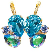 Isabella Tropea Crystal Pear Cluster Earrings Aquamarine And Paradise Shine Gold