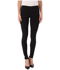 Plush Fleece Lined Faux Leather Tuxedo Leggings Black Women's Clothing