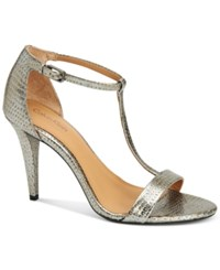 Calvin Klein Women's Nasi T Strap Dress Sandals Women's Shoes Alloy
