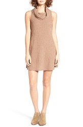 Socialite Women's Cowl Neck Shift Dress Taupe