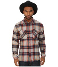 Brixton Bowery Long Sleeve Flannel Light Blue Navy Men's Long Sleeve Button Up