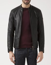 Armani Jeans Black Eco Leather Jacket With Biker Collar
