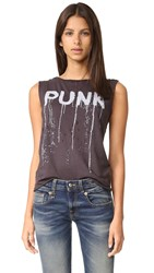 R 13 Punk Raw Edge Tank Worn Black