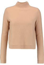 Tory Burch Cropped Merino Wool Sweater Camel