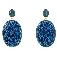 Latelita London Stingray Pave Oval Earring Royal Blue Blue Gold