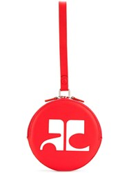Courreges Circle Logo Clutch Cotton Calf Leather Polyester Red