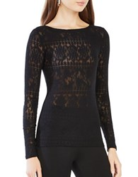Bcbgmaxazria Wylie Long Sleeve Lace Top Black