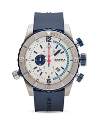 Brera Orologi Sottomarino Diver Navy Blue Ionic Plated Stainless Steel Watch With Navy Blue Rubber Band 48Mm Silver Navy