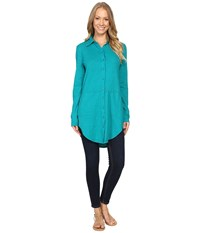 Mod O Doc Slub Jersey Button Front Shirt Dark Jade Women's Long Sleeve Button Up Green
