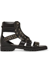 Balmain Embellished Leather Sandals Black