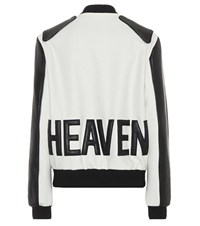 Saint Laurent Leather Trimmed Wool Jacket White