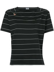Hysteric Glamour Striped T Shirt Cotton Black