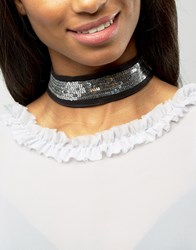 Asos Wide Sequin Choker Necklace Black