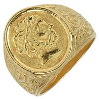 Torrini Socrates Engraved Oval Yellow Gold Men's Ring