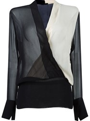 Giuliana Romanno Fitted Waist Longsleeved Blouse Black