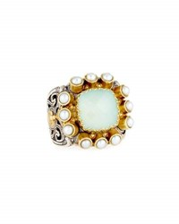 Konstantino Amphitrite Cushion Agate And Multi Pearl Statement Ring Blue