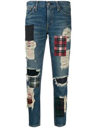 Junya Watanabe Ripped Patch Jeans Blue