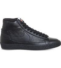 Nike Blazer Mid Top Leather Trainers Black White Gum