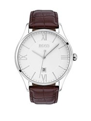 Hugo Boss Governor Stainless Steel And Leather Strap Watch Brown