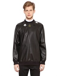 Givenchy Stars Leather And Neoprene Sweatshirt