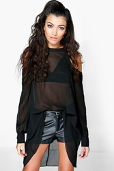 Boohoo High Neck Cut Out Shoulder Blouse Black