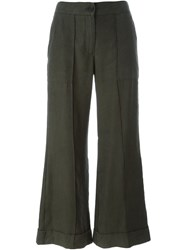 Raquel Allegra Cropped Flared Trousers Green