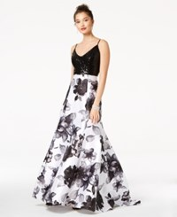 Jump Juniors' Sequined And Floral Print Gown Black White