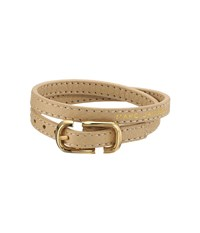 Marc Jacobs Icon Buckle Double Wrap Leather Bracelet Antique Beige Bracelet