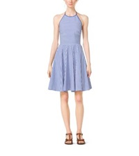 Michael Kors Striped Cotton Poplin Halter Dress Cobalt White