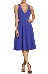Dress The Population Catalina Tea Length Fit And Flare Blue Violet