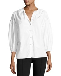Saloni Bette Puff Sleeve Cotton Shirt White
